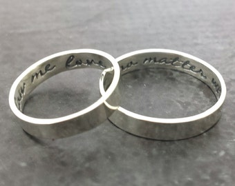His and Her 14k White Gold Ring Set - Hand Stamped ring set - Wedding rings - Engagement rings