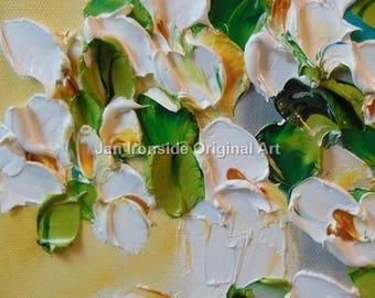 Oil Painting white  Original  Impasto Flowers PAINTING Original Art