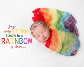 Limited time Sale! Rainbow Baby Photo Prop You choose either Wrap, Headband, or complete set. Ready to ship. Rainbow baby gift