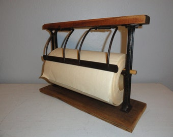 Vintage Paper Cutter Roll Dispenser General Store Organizer for Gift Wrap Paper