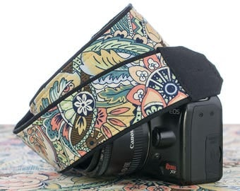 Floral dSLR Camera Strap, Floral Abstract, Two lengths, Custom, Replaces your Canon or Nikon Neck Strap, 154 cw