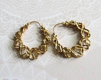 Vintage 14K Lacy Hoop Earrings on Etsy by APURPLEPALM