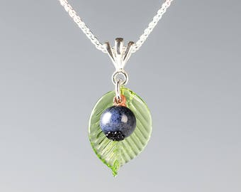 Pregnancy Jewelry SMALL Glass Blueberry Necklace congratulations gift for pregnancy, expecting mother, expectant mom-to be keepsake