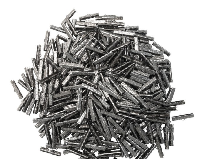500 pieces  30mm ( 1 3/16 inch ) Gunmetal Ribbon Clamp End Crimps - Artisan Series
