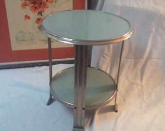 TABLE Unique Vintage Modern Metal 2 Tier Industrial Table Chrome Vintage Retro Poppy Cottage