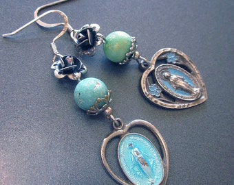 Religious Assemblage Dangle Earrings Vintage Sterling Enamel Medals Virgin Mary Hearts