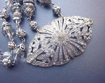 Vintage Rhinestone Assemblage Necklace Vintage Paste Rhinestone Crystals Wedding Jewelry