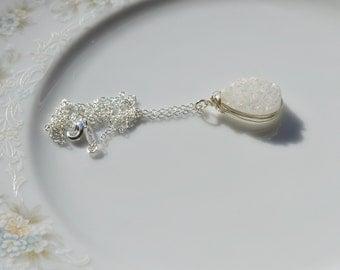 White druzy and sterling silver wire wrapped pendant necklace, druzy jewelry, wedding necklace, wedding jewelry