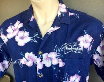 1980s Budweiser vintage Hawaiian shirt - size large/XL