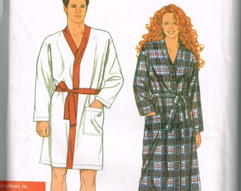 Unisex Housecoat Pattern Simplicity 9889 All Sizes Mens or Womens Kimono Robe House Coat Vintage Uncut 1995 Sewing Pattern