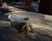 Vintage Cut Glass & Brass Oval Footed Compote Dish Old World French Decor