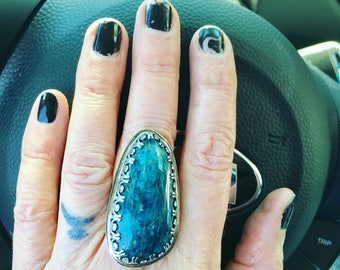 Apatite Cabochon Sterling Silver Statement Ring
