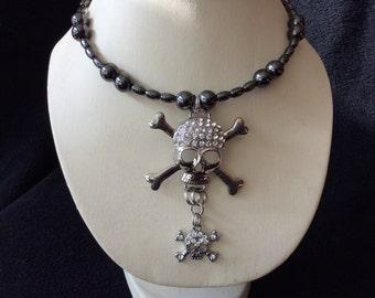 Rhinestone skull magnetic hematite memory wire choker necklace
