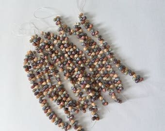Picasso 5 Color Luster 4x6mm Mix Teardrop Beads, Czech Glass Teardrop Beads, 50 Teardrop Beads Per Strand, Top Drilled
