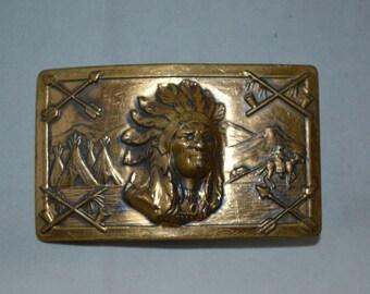 Vintage 60'S INDIAN HEAD Metal Cast Belt Buckle Chief Logo Leather Folk Art