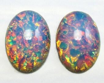 2 Pink Fire Opal Stones Vintage Glass Cabochon 2 pcs 25x18mm S-12-R