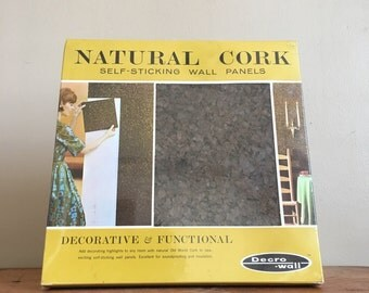 Vintage Mid Century 1966 Decro Wall Brown Natural Cork Self-Sticking Wall Panels. Never Used. Original Box.