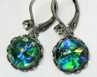 Simple Dangle Earrings- Emerald Green Fire Opal Earrings- Art Deco Earrings art deco earrings