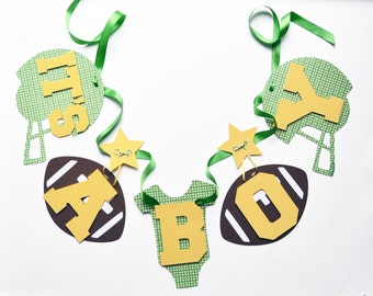 NEW Larger Size Football baby shower decorations kelly green and golden yellow it's a boy banner by ParkersPrints on Etsy