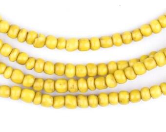 300 Vintage Yellow Ghana Glass Beads - African Beads - Yellow Seed Beads - Jewelry Making ...