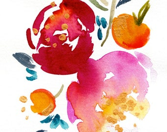 Second Sale - Watercolor Painting - Abstract Floral - Golden Floral -  Pink - Magenta - Red - Gold -Orange - Illustration - 8x10 Print