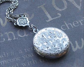 Silver Locket Necklace, Flower Jewelry, Love Garden Locket, Round Locket, Photo Picture Locket, Wedding Jewelry, Stocking Stuffer GIFT Bride