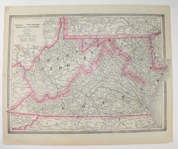 1885 Cram Map Of Virginia West Virginia Map Vintage VA Map