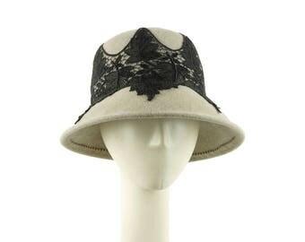 Gray Cloche Hat for Women, Winter Hat, Womens Hat, Felt Cloche, Felt Hat, Ladies Hat, Dress Hat, Mother of the Bride Hat, Millinery Hat