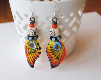 Butterfly Earrings, Colorful Earrings, Lampwork Glass Bead Earrings, Modern Chic Earrings, Yellow Orange Earrings, Insect Wing Earrings