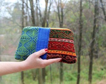 Scrap, Patch Zip Pouch with Hand strap, Turkish Tapestry, Upholstery Clutch