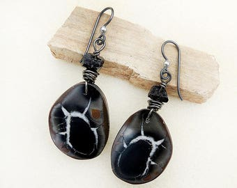Natural Septarian Matching Stone Earrings, Niobium Earwires, Hypoallergenic, Non-allergenic, Black, Brown, Silver, Calming, Handmade Jewelry