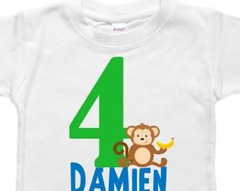 Birthday Shirt Monkey - Bodysuit - Personalized - Toddler Birthday - Monkey with Banana