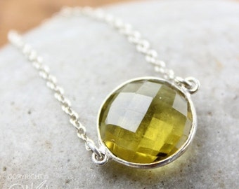 CHRISTMAS SALE Gold-Green Quartz Bezel Stone Necklace - Sterling Silver - Yellow Stone