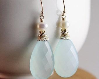 CHRISTMAS SALE Aqua Chalcedony Earrings - Aqua Mint - Freshwater Pearls, Bridal Earrings