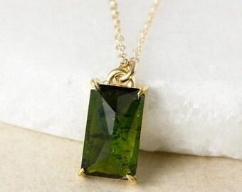 CHRISTMAS SALE Gold Emerald Green Tourmaline Necklace, Rectangular Tourmaline, Natural Tourmaline