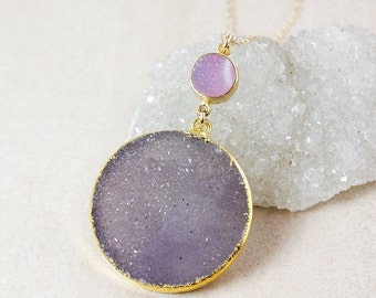 50 OFF SALE Pink and Purple Druzy Necklace – Choose Your Druzy – 14K Gold Filled Chain