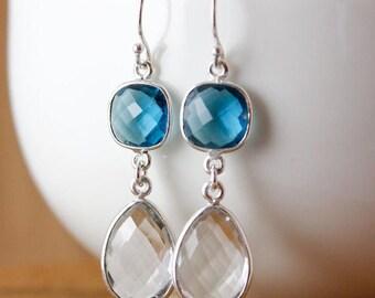 ON SALE London Blue Quartz & Crystal Earrings - Bridesmaids Earrings - Winter Weddings