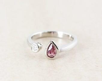ON SALE Teardrop Pink Tourmaline Dual Ring - Round Diamond - Sterling Silver