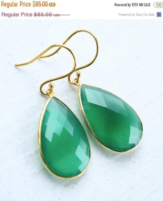 CHRISTMAS SALE Green Onyx Teardrop Earrings - Emerald Green - Glowing Green