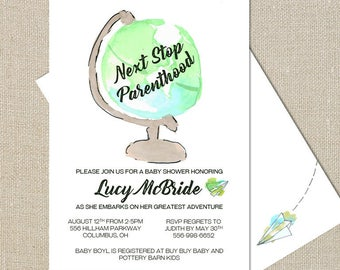 Adventure Awaits - Watercolor Globe - Destination Baby Boy Shower Invitation - Digital Printable File - Double-sided