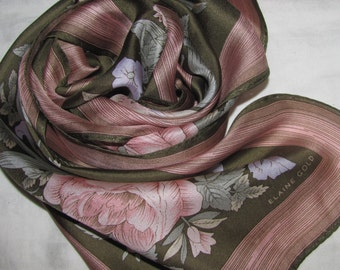 Vintage Elaine Gold Rectangular Silk Scarf -Soft Pink, Dark Gold Floral Pattern -  Roses, Leaves, Flowers