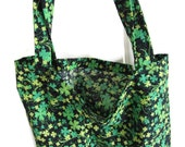 Shopping Bag, Reusable Grocery Bag, Market Bag, Clover Tote Bag, Reusable Tote, Green and Black Sparkle, Shamrock Bag