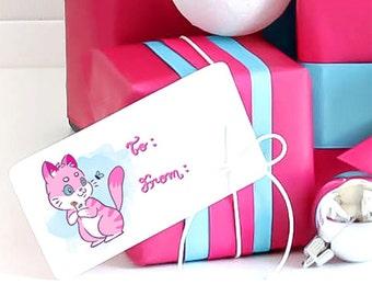 Cat gift tags - Digital download