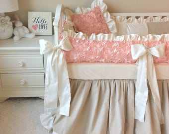 Silk Bedding Sets for Baby Girls, Linen Crib Set, Baby Bedding Set, Luxury Baby Bedding, Boutique Crib Bedding, In Stock and Ready to Ship!