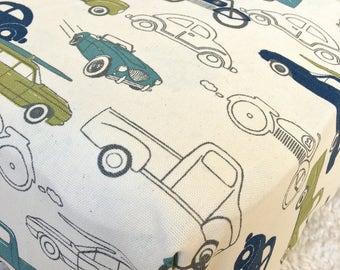 Vintage Cars Cotton Crib Sheet, Retro Crib Sheet, Fitted Crib Sheet, Sheet for Baby Bed, Crib Sheet for Baby Boy, Standard Crib Sheet