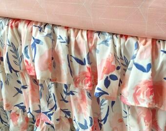 Blush Floral Crib Skirt, Floral Crib Skirt, Blush Ruffled Crib Skirt, Ivory Ruffled Crib Skirt, Ruffled Crib Skirt