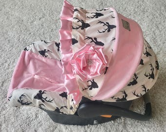 Ivory and Black Deer Car Seat Cover, Pink Baby Car Seat Cover, Baby Pink Car Seat Cover, Infant Car Seat Covers, Deer Car Seat Cover