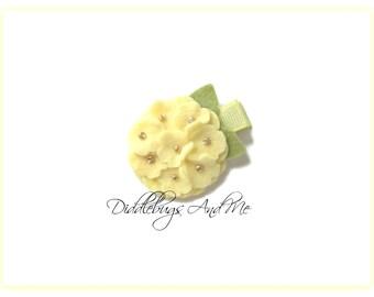 Yellow Hydrangea Hair Clip, Felt Flower Hair Clip, Girl's Flower Hair Clip,  Hydrangea Hair Clip, Flower Hair Clips, Hair Clips For Spring