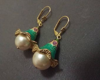 Exotic Costume  Pearl And Enamel  Earrings  Hand  Made  One of A Kind Wedding Jewelry Free Shipping To The Usa And Canada