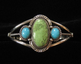 Running Bear Workshop Green and Blue Turquoise Sterling Cuff Bracelet